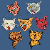 Different Hand Drawn Heads Cat.