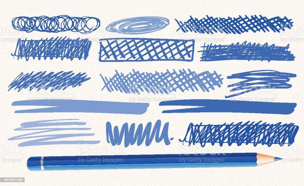 Verschiedenen handgezeichneten Marken in blauer Farbe – Vektorgrafik