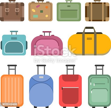Different handle bags and travel suitcases. Pictures in flat style. Set of colored luggage and suitcase, baggage and bag for trip and tourism. Vector illustration