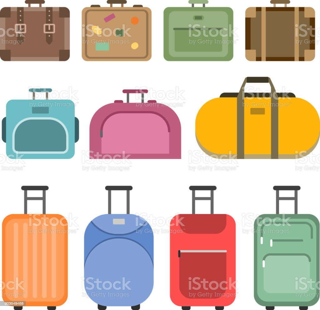 Different handle bags and travel suitcases. Pictures in flat style vector art illustration