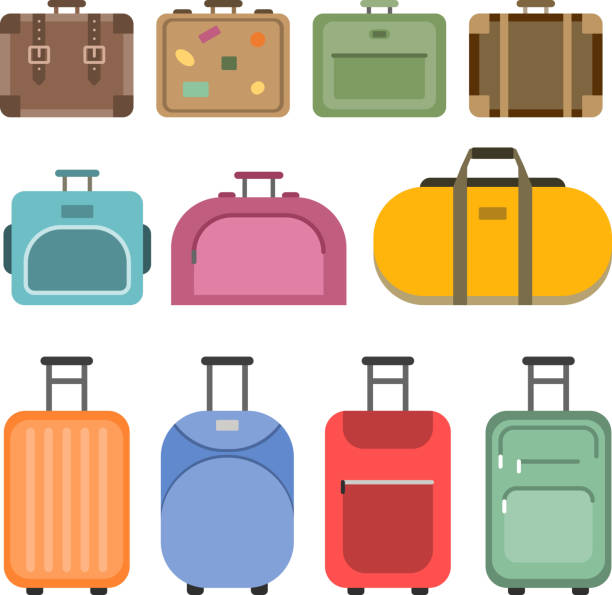 different handle bags and travel suitcases. pictures in flat style - luggage stock illustrations