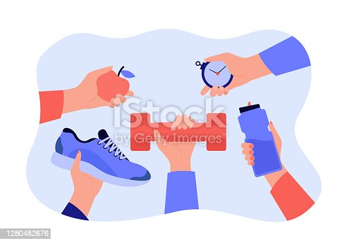 Different hands holding accessories for sport exercise flat vector illustration. Workout and training elements for banners. Wellness and healthy lifestyle concept