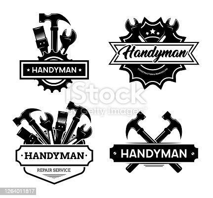Different handyman logo flat icon set. Black vintage service badges with wrench and hammer for mechanic worker vector illustration collection. Construction and maintenance concept