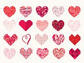 A collection of twenty different hearts shapes