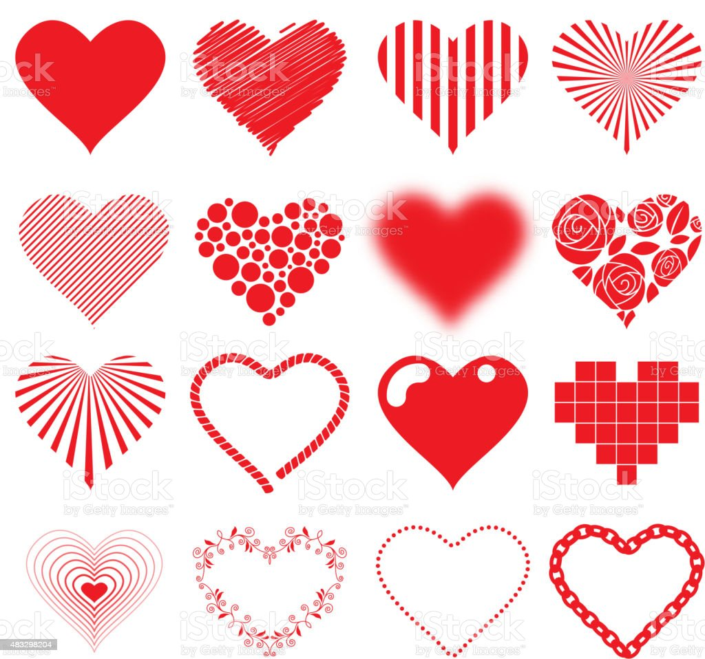 Different hearts icons set love passion valentines day design vector art illustration