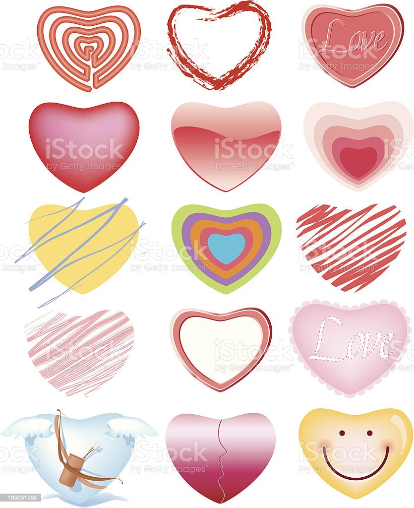 Different Hearts royalty-free stock vector art