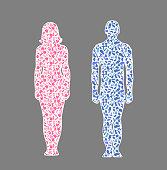 Different hobby man amd woman, illustration