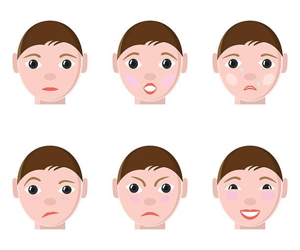 verschiedene menschliche emotionen - smileys zum kopieren stock-grafiken, -clipart, -cartoons und -symbole