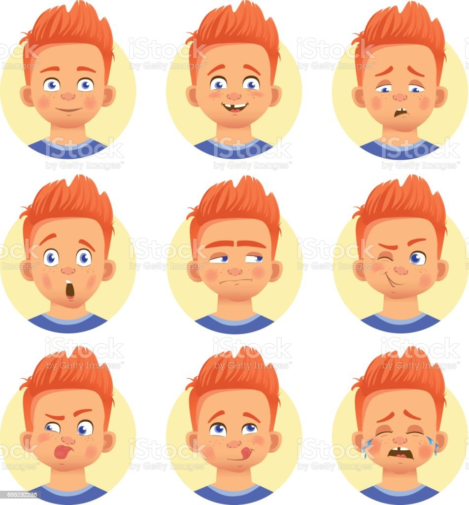 Different human emotions vector art illustration