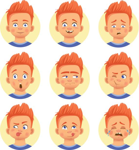 different human emotions - tears of joy emoji stock illustrations