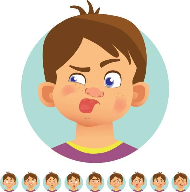 ilustraciones, imágenes clip art, dibujos animados e iconos de stock de diferentes emociones humanas - emoji perezoso