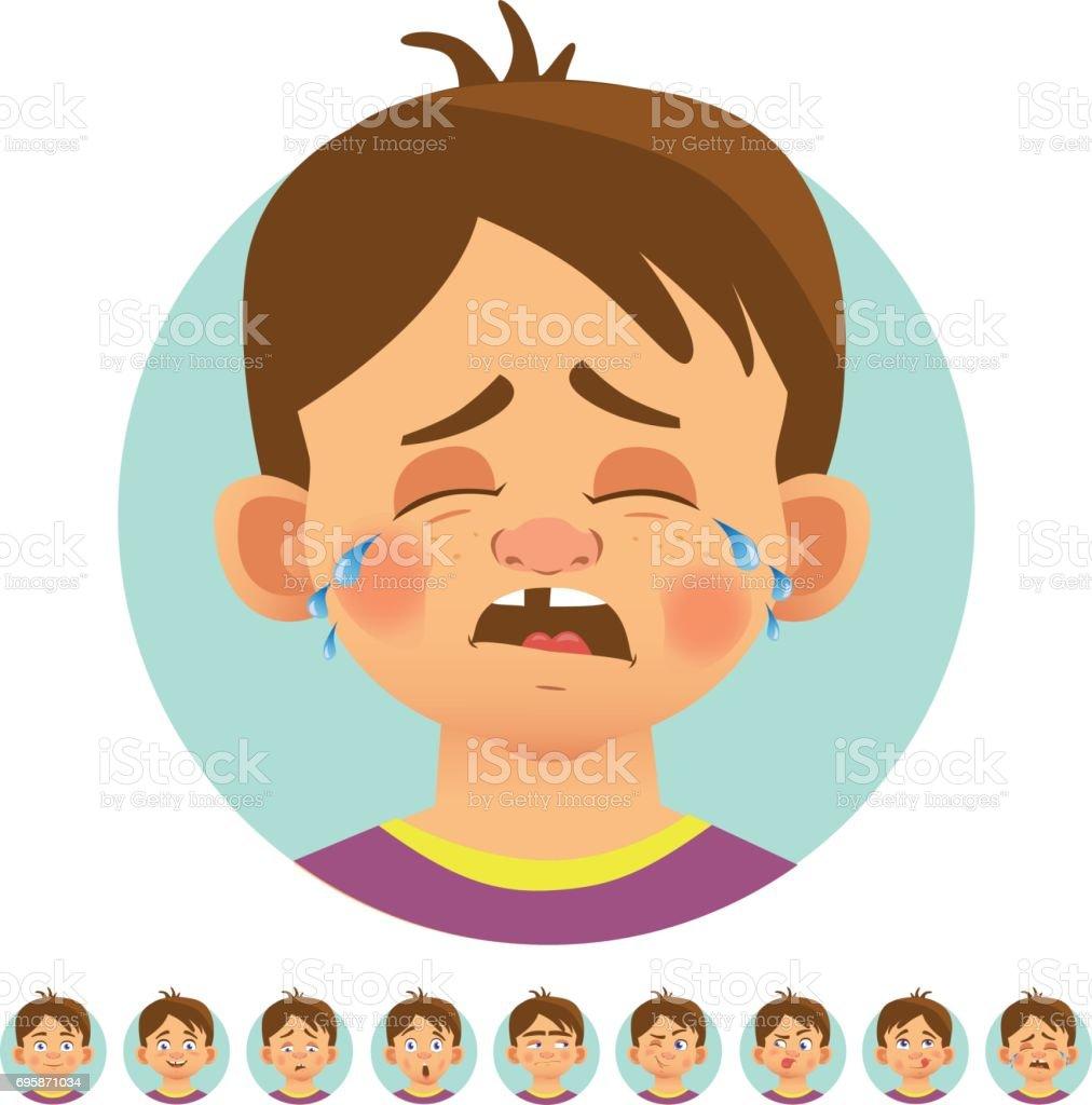 Diferentes emoções humanas - ilustração de arte em vetor