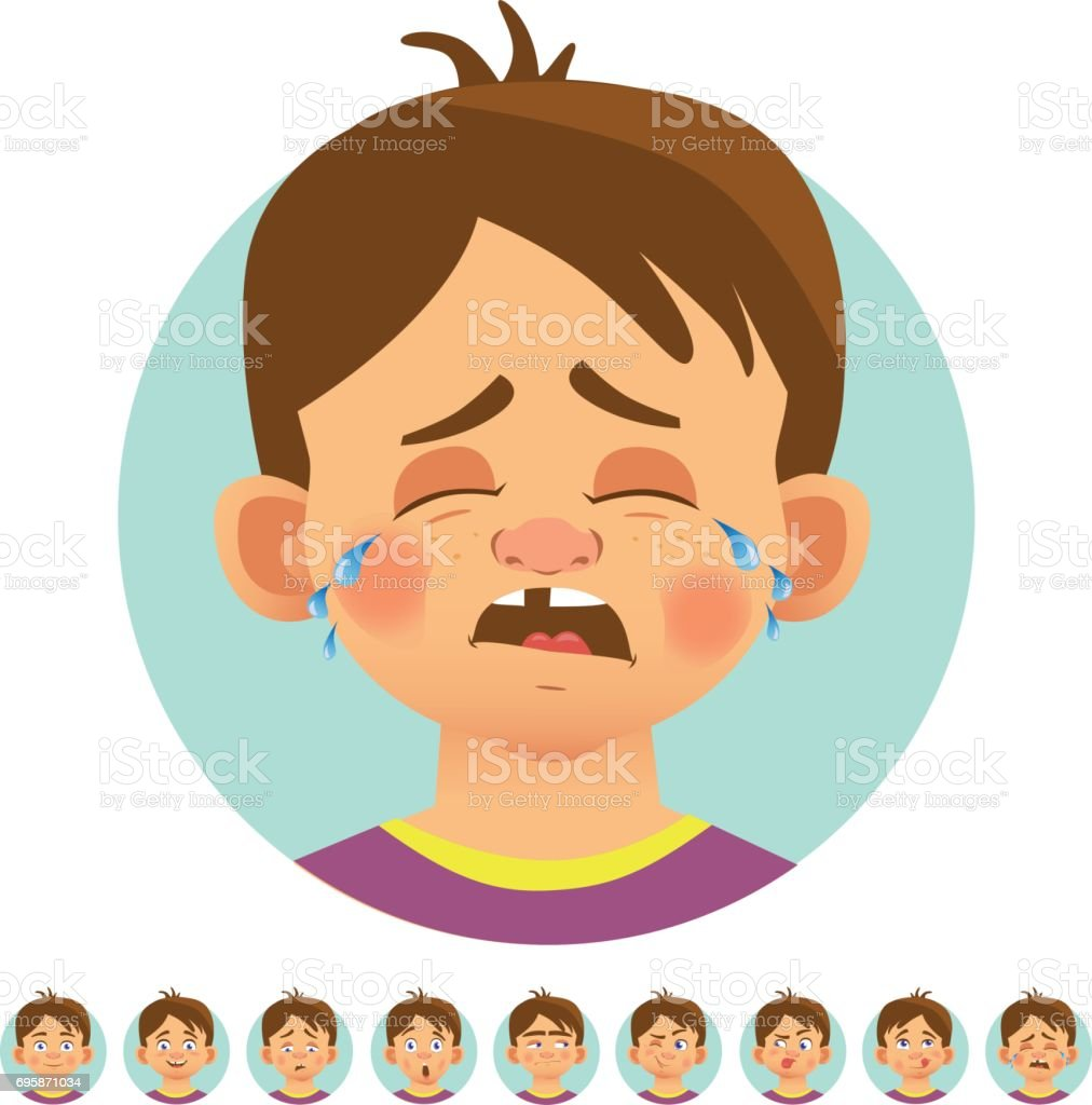 Different human emotions vector art illustration