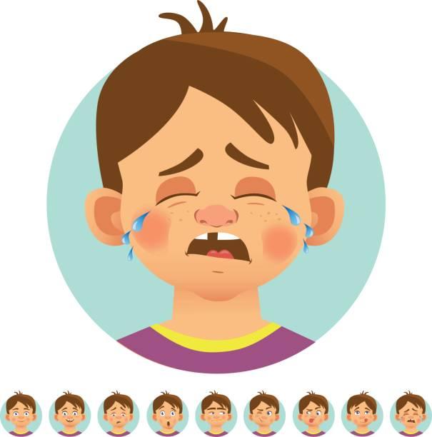 ilustraciones, imágenes clip art, dibujos animados e iconos de stock de diferentes emociones humanas - lágrimas de emoji alegre