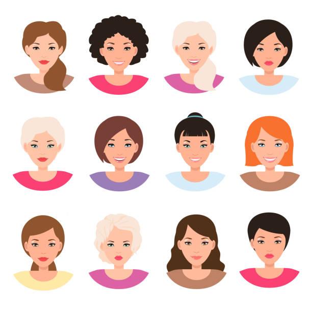 stockillustraties, clipart, cartoons en iconen met verschillende mensheid vrouwelijke gezichten. meisjes avatars. vrouw staand pictogram vector geïsoleerd - curly brown hair