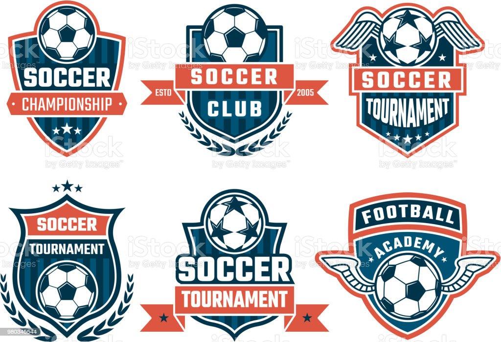 Icônes différentes pour le club de football. Jeu d'étiquettes de vecteur - Illustration vectorielle