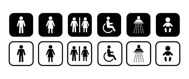 Different icons for restroom. Men, Woman, People with disability, Shower, Child. Vector signs