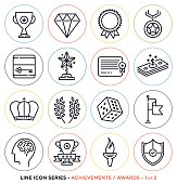 Awards and achievements line icons set. Vector collection of award symbols & objects.