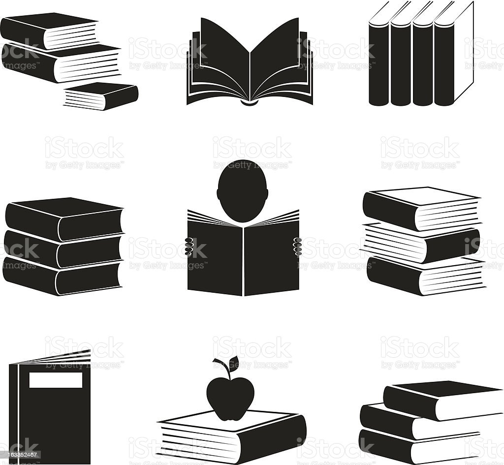 Different icons with books image. vector art illustration