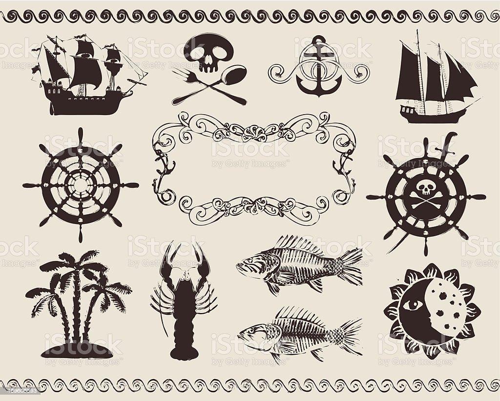 Different illustrations of marine icons vector art illustration