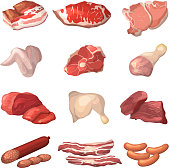 Different illustrations of meat. Marble beef, piece of lamb, and other food pictures in cartoon style. Steak pork, raw ham and fresh meat product vector