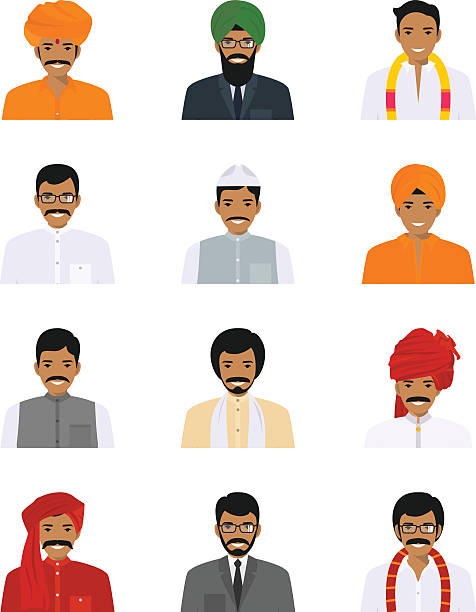 Different indian people characters avatars icons set in flat style. vector art illustration