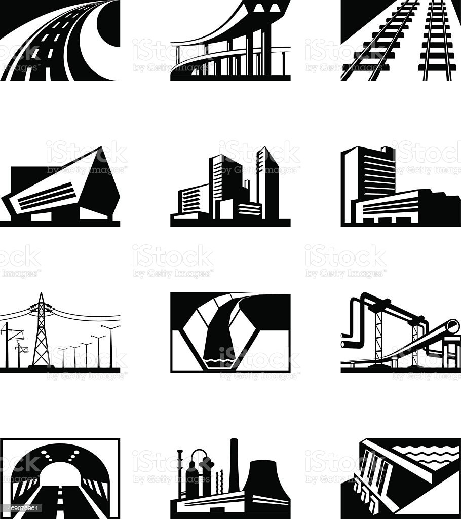 Different industrial construction vector art illustration