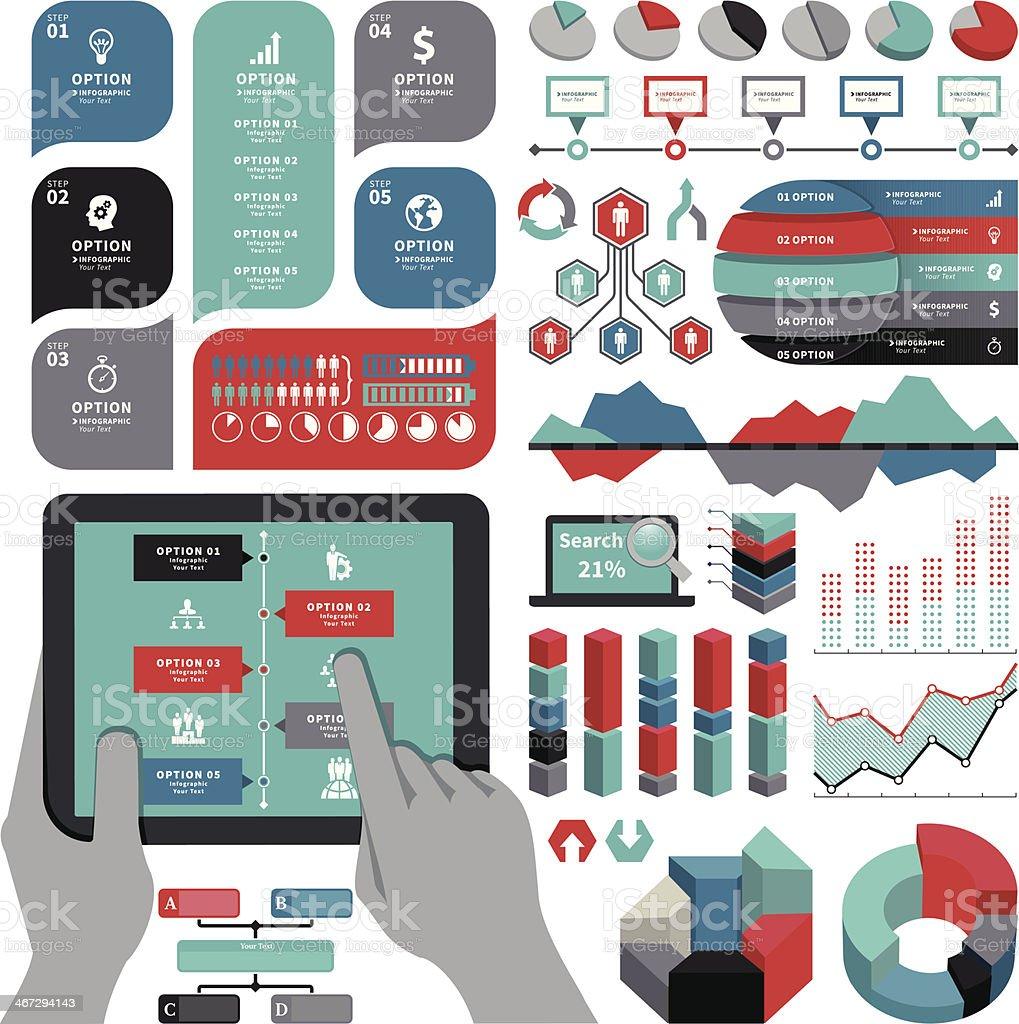 Different infographics on white background vector art illustration