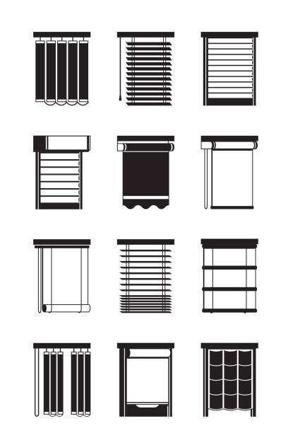 verschiedenen innenjalousien - stoffrollos stock-grafiken, -clipart, -cartoons und -symbole