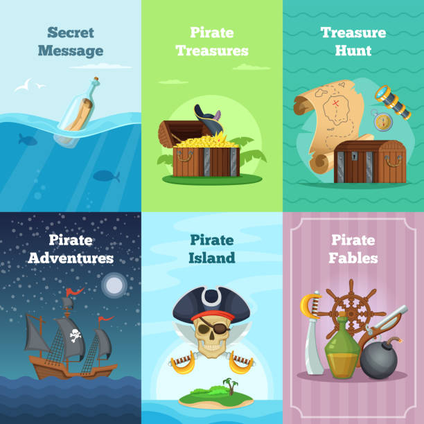 Different invitation cards of pirate theme. Vector illustrations with place for your text Different invitation cards of pirate theme. Vector illustrations with place for your text. Pirate card hunt treasure and adventure antiquities stock illustrations