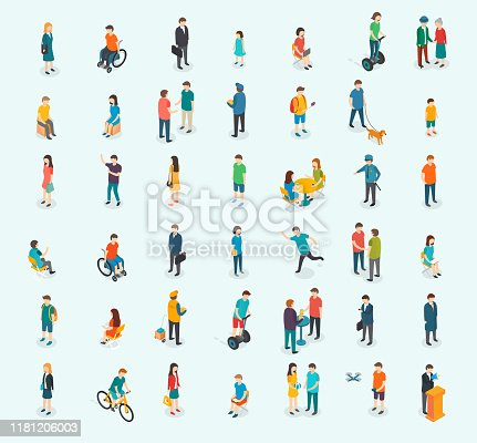 Different isomeric people vector set. Vector illustration.