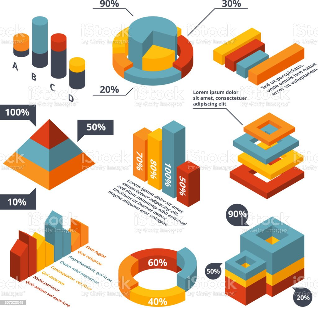 Different isometric elements for business infographic. Graphic diagrams, 3d charts vector art illustration