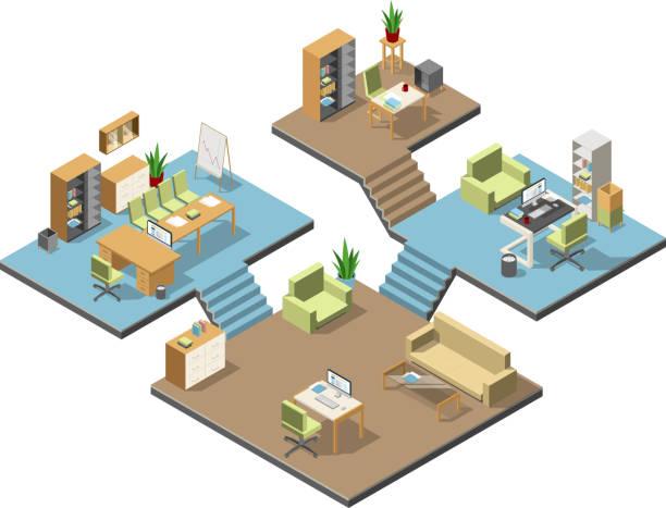 Différents bureaux modernes isométriques avec des meubles. Plusieurs étages dans le centre d'affaires. Vector illustration jeu - Illustration vectorielle