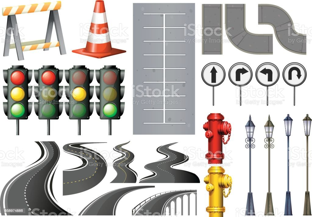 Different items and safety equipment for traffic royalty-free different items and safety equipment for traffic stock vector art & more images of art