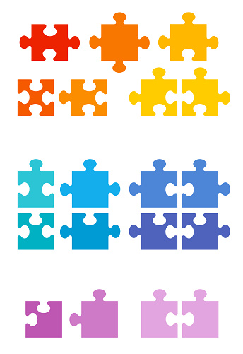 Different jigsaw puzzle pieces. Possible shapes of an normal game with and without edges and corners. Colorful sample set. Isolated vector illustration on white background.