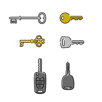 Different keys open outline icons