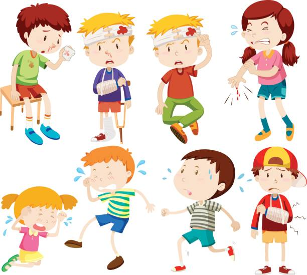 Different kids being sick and getting hurt vector art illustration