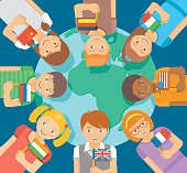 Smiling happy kids of different races around the Earth. Children hold flags of different countries. Childhood friendship worldwide. Flat vector illustration. International communication concept