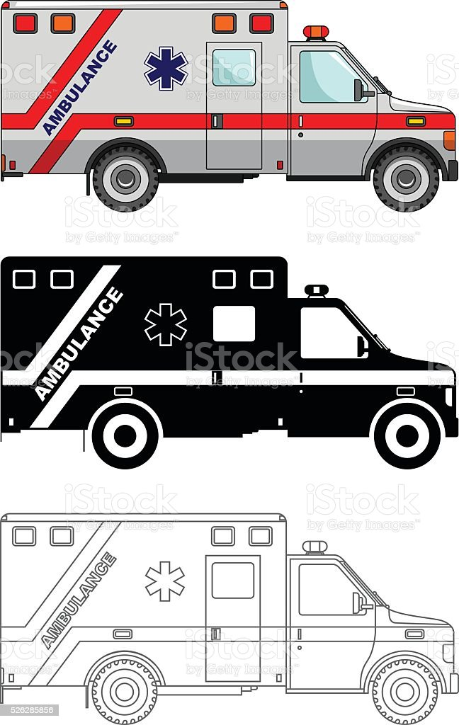 Different kind ambulance cars isolated on white background. Vector illustration. vector art illustration