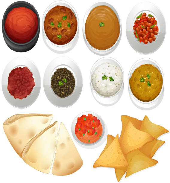 Different kind  chips dips Different kind of chips and dips illustration tomato sauce stock illustrations
