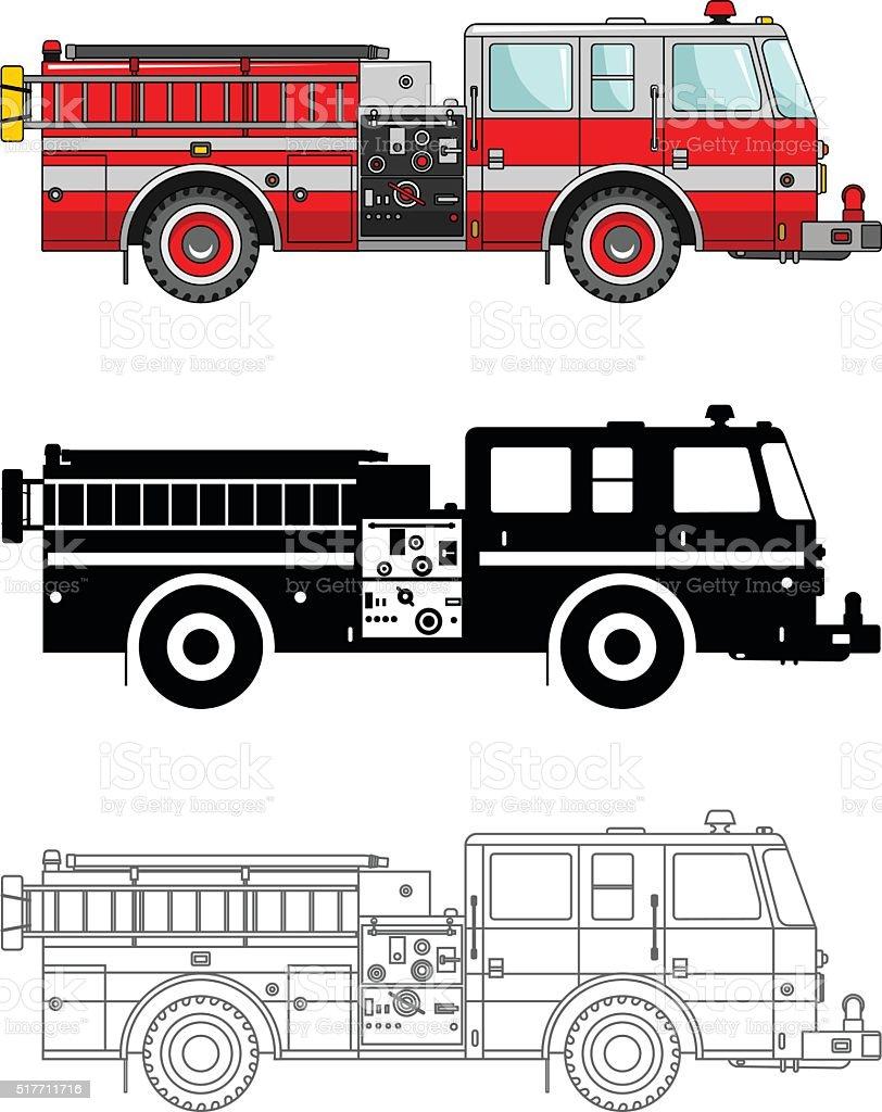 Different kind fire trucks isolated on white background. Vector illustration. vector art illustration