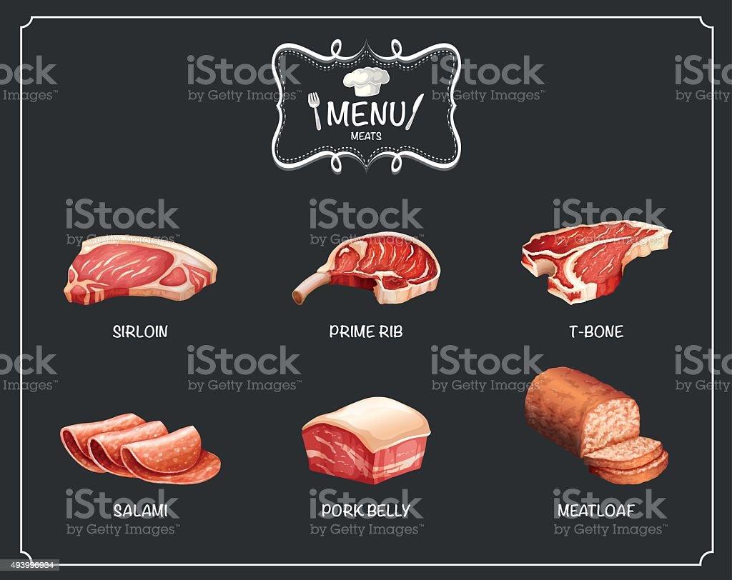 様々な種類の肉料理 ベクターアートイラスト