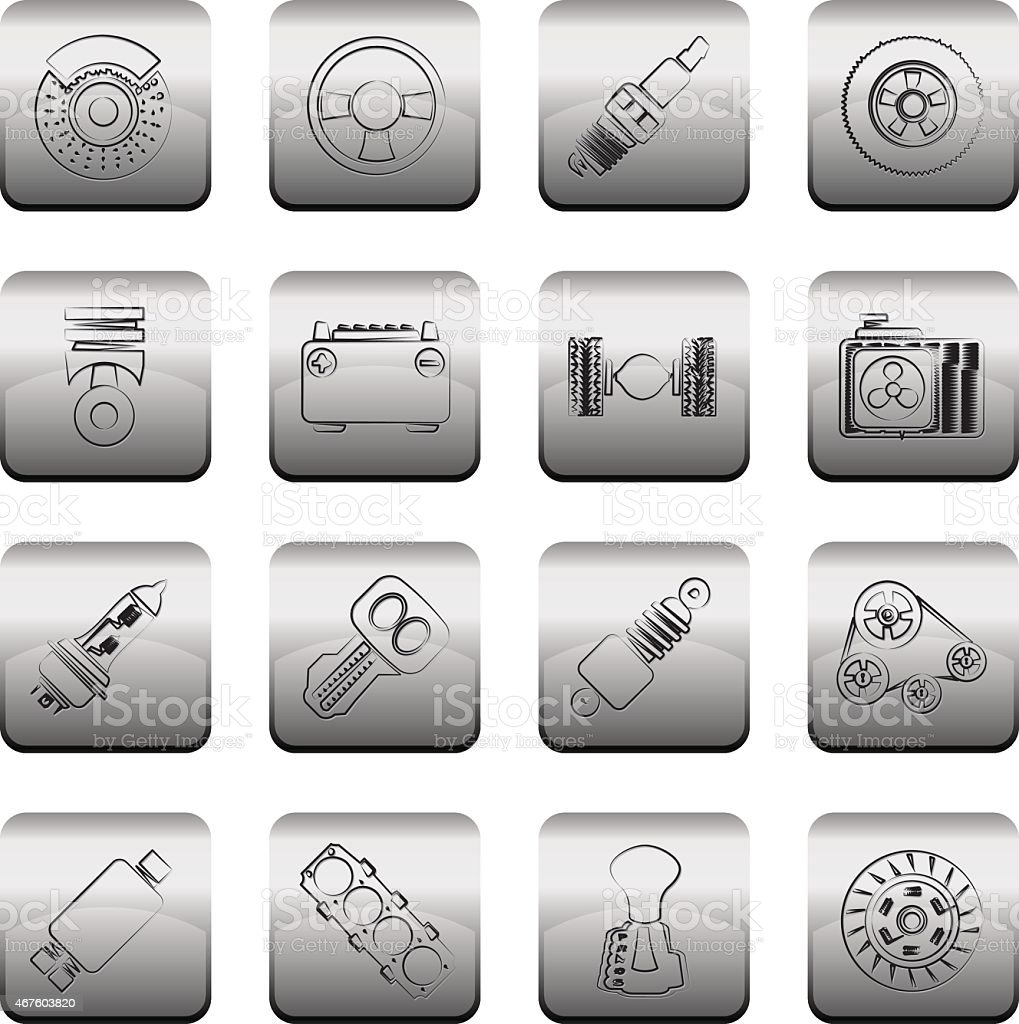 Different kind of car parts icons vector art illustration