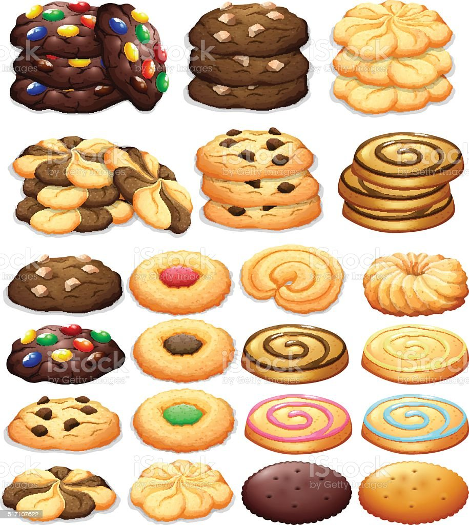 Different kind of cookies vector art illustration