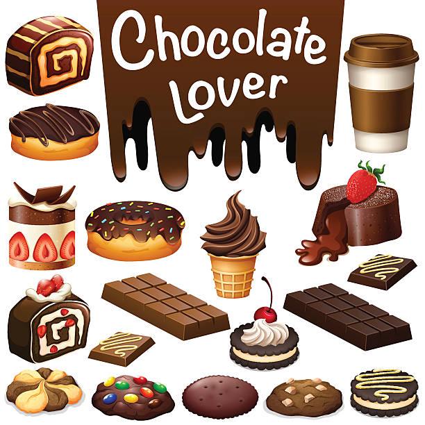 andere art von dessert mit schokolade aromen - tortenriegel stock-grafiken, -clipart, -cartoons und -symbole