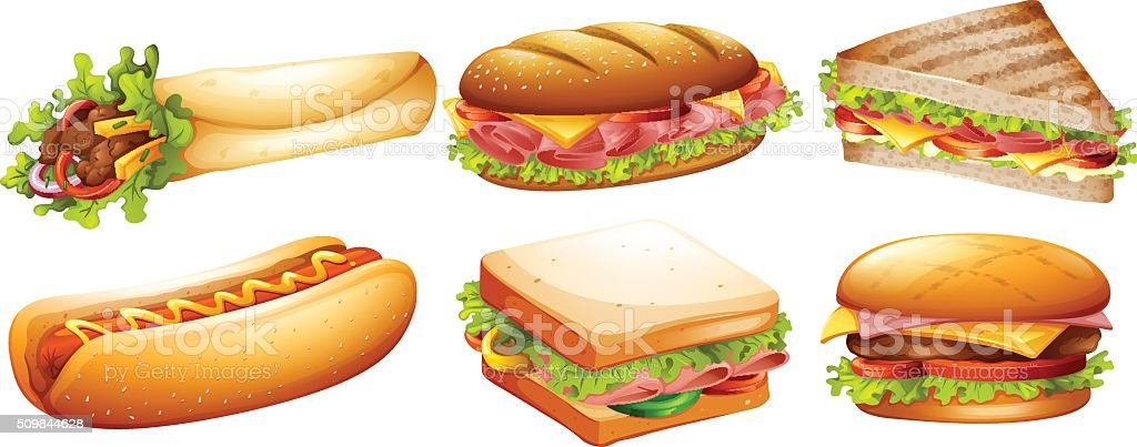 Different kind of fastfood vector art illustration