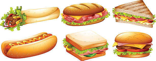 Different kind of fastfood Different kind of fastfood illustration bread clipart stock illustrations