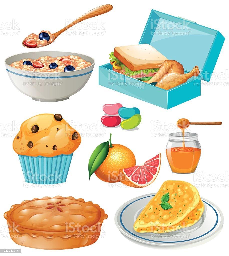 Different kind of food and dessert vector art illustration