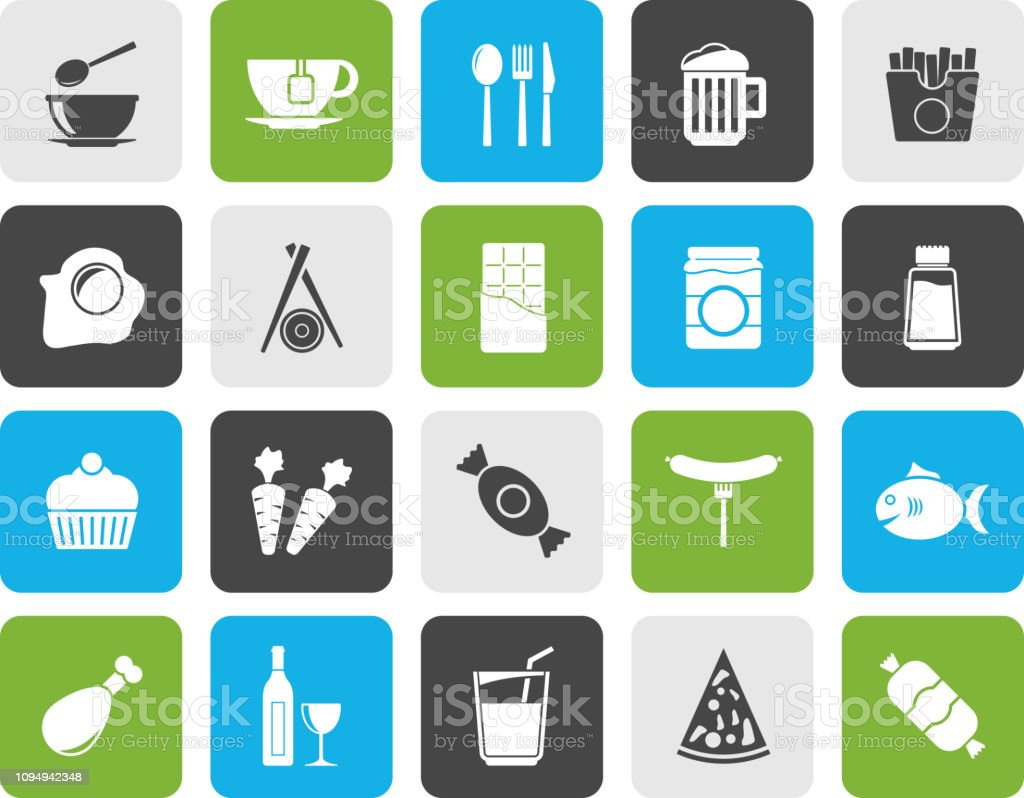 Different kind of food and drinks icons 1 - vector icon set