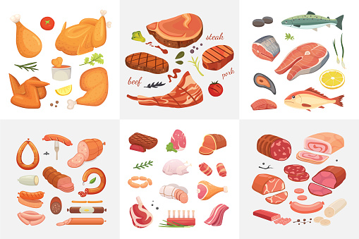 Different kind of meat food icons set vector. Raw ham, set grill chiken, piece of pork, meatloaf, whole leg, beef and sausages. Salmon fish and seafood.